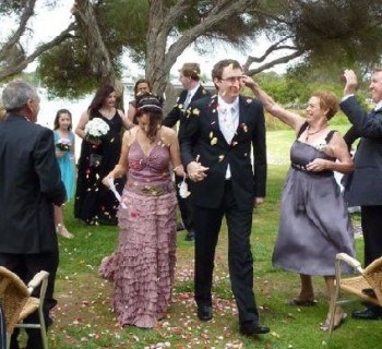 Blessed with rose petals at our Fremantle wedding