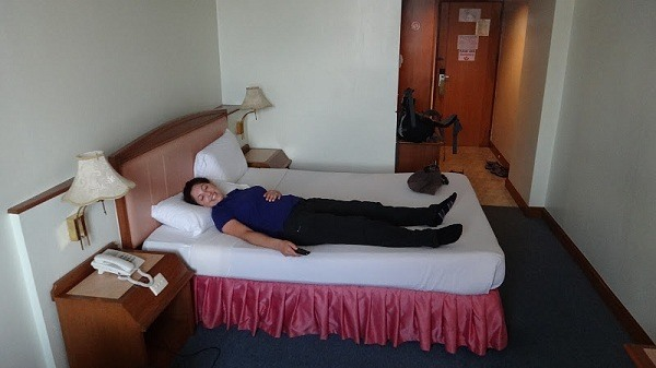 Ahhh the glorious bed at the V.L. Hotel in Hat Yai