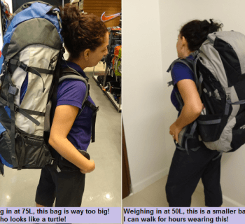 Big 75L Backpack vs Smaller 50L Backpack - You get the idea!