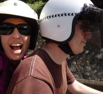 Riding along on our 100c motorbike (scooter)