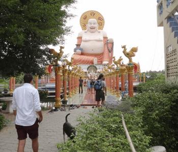 One of the large statues at Wat Leam Suwanaram Koh Samui feature