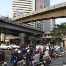A busy Bangkok motorbike intersection