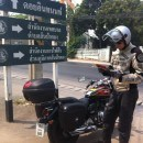 Andrew reading map Mae Hong Son Loop