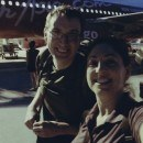 Tanya And Andrew In Front Of Air Asia Plane Phnom Penh to Kuala Lumpur