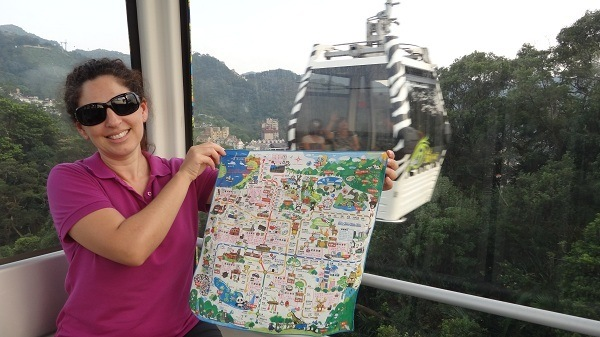 Tanya And Her Ultimate Multi-Functional Travel Gear - Taipei MRT Map and Sweat Cloth (and photo bomber)