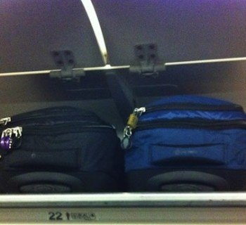 Pacsafe Toursafe 21Inch Bag In The Airline's Overhead Compartment