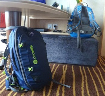 Pacsafe Venturesafe 45L GII Travel Backpack Locked To A Desk