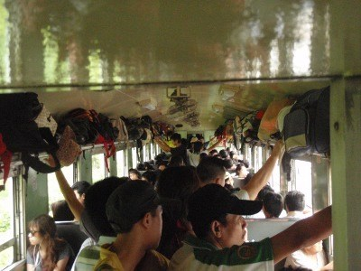 very crowded train in Thailand