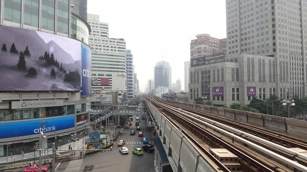 BTS Skytrain - a track between buildings
