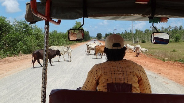 Peak hour traffic near Sihanoukville