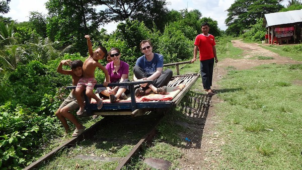 Riding on the bamboo train near Battambang