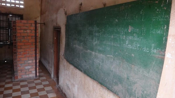 A classroom converted into cells in S21 in Phnom Penh