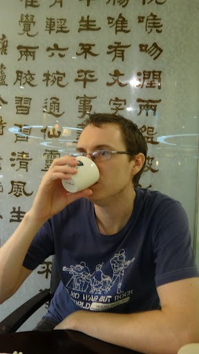 Andrew Drinking Green Tea At Cha For Tea, Taipei