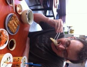 Eating Pot Sticker Dumplings