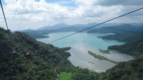 The beautiful Sun Moon Lake seen from the ropeway