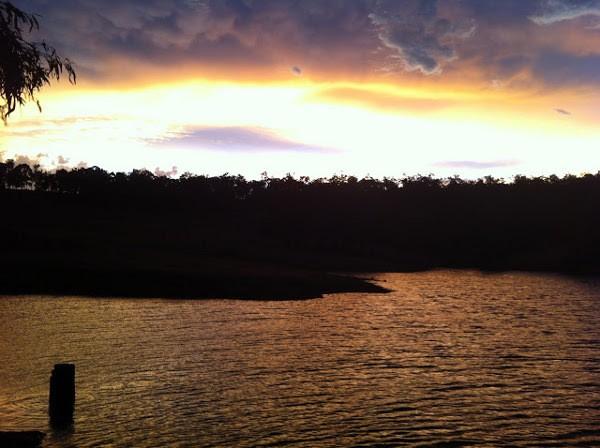 Sunset over a farm dam