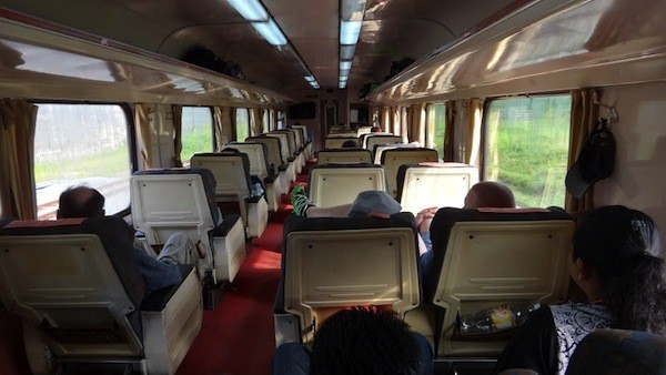 The interior of a Malaysian train
