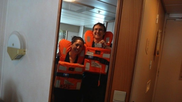 Trying On Our Life Jackets On The Cruise