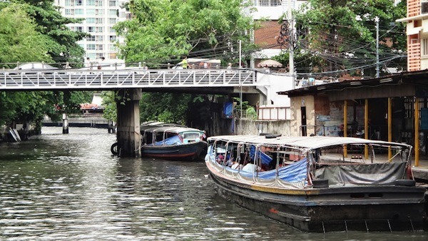 Canal Boats On Saen Saep Canal In Bangkok