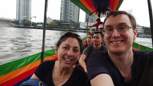 Riding A Boat On Stormy Chao Phraya River In Bangkok