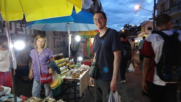 Sally and Andrew at the Saturday Walking Market Chiang Mai