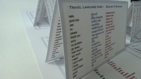 South East Asia Travel Language Cards Close Up