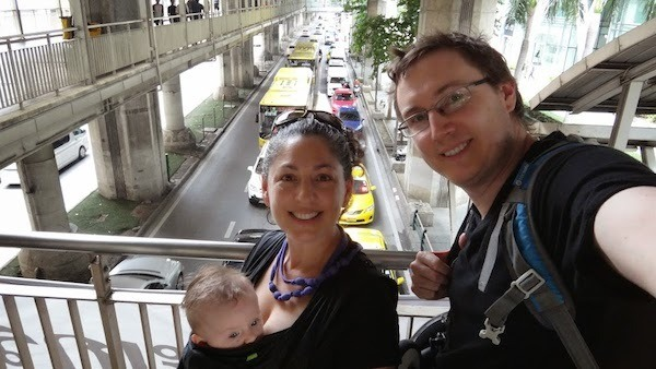Our traveling family in Bangkok