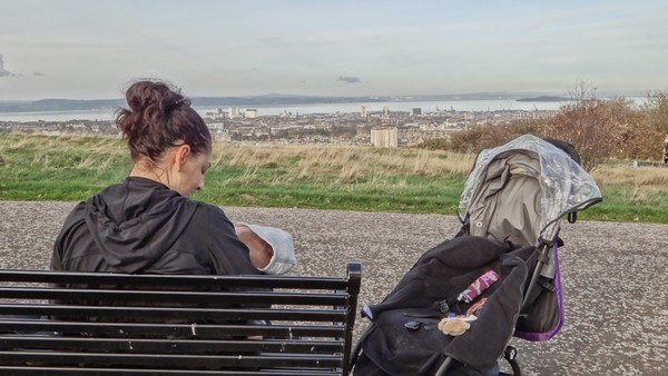 Our Babyzen Yoyo at the top of Calton Hill in Edinburgh
