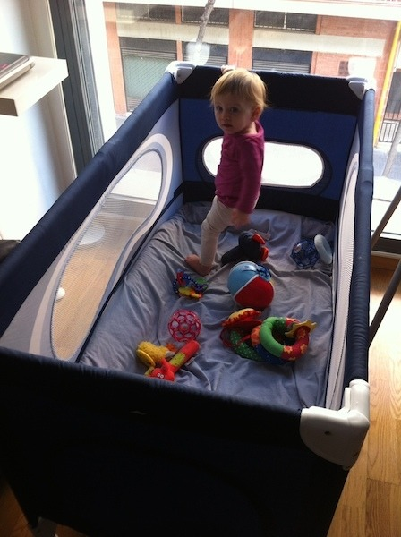 Zoe in Baby Jail (Play Pen) Overlooking El Clot Barcelona