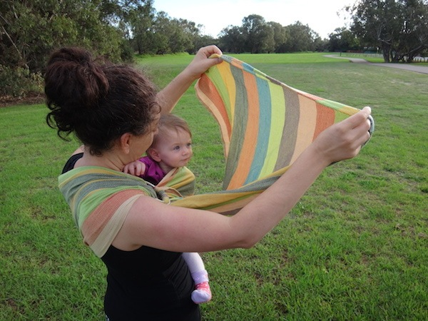 Hugabub Eucalyptus Dreaming Organic Mesh Ring Sling Looking At The Sun Through The Fabric