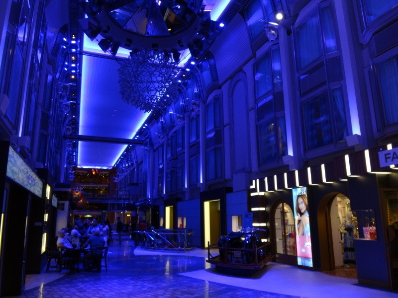 The promenade at night, inside Explorer of the Seas