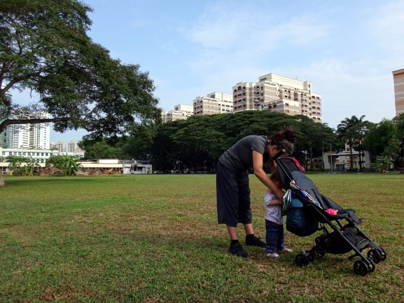 GB Pockit Stroller On Grass Singapore