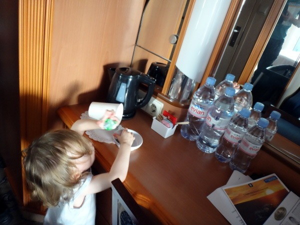Taking a toddler on a cruise takes some work. Our daughter making it obvious that the rooms are not entirely babyproof.