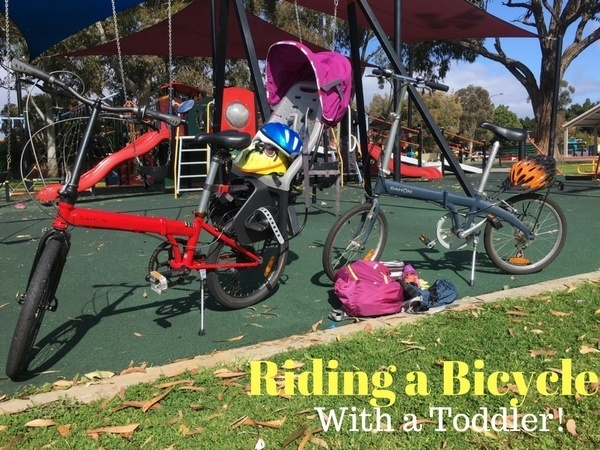 Riding a bicycle with a toddler